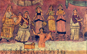 Moses found in the river Synagogue Fresco from 244 CE