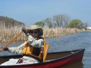 B.J Yudelson  in her canoe
